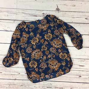 Pink Rose zip back floral top blue size medium